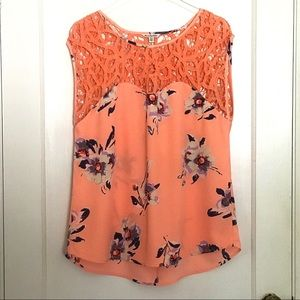 American Eagle Bright Coral Floral Top